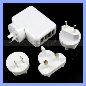 5V 2.1A EU/Us/UK/Au Plug 4 USB Port Travel Wall Charger for iPad iPhone Mobile Phone pictures & photos