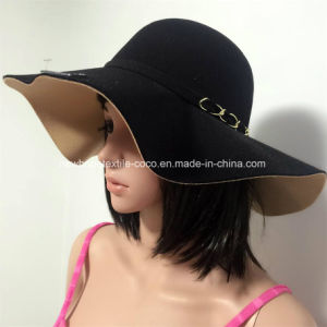 Fake Wool Contrast Colour Lady′s Hat with String Decoration pictures & photos