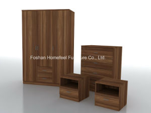 Stunning 4 Pieces Wooden Bedroom Set with Wardrobe Dresser pictures & photos
