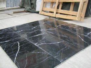 Chinese Nero Marquina Black Marble Slabs Marble Flooring Tiles pictures & photos
