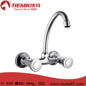 Popular Chromed Dual Handle Wall Kitchen Mixer (ZS66802-546) pictures & photos