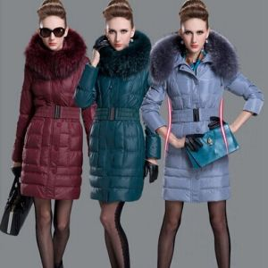 2013 Fashion Detachable Fur Hooded Collar Slim Thick Warm Winter Coat 90% White Duck Down Jacket Zipper Front Long-Sleeve Pocket pictures & photos