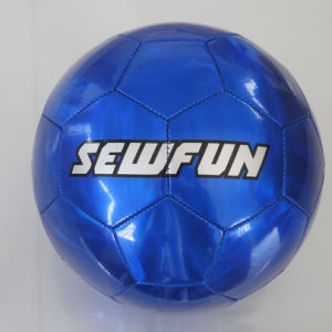 Metalic Color Blue PVC Leather Soccerball Football pictures & photos