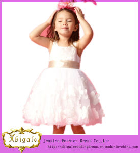 Appliques Sleeveless Organza Latest Dress Designs for Flower Girls (MI 3551)