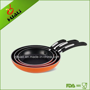 3PCS Cookware Fry Pan Aluminum Orange