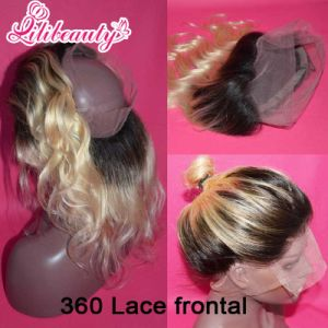 Peruvian Human Hair 360 Lace Frontal Closure Two Tone 1b/613 Blonde Ombre Virgin Hair pictures & photos