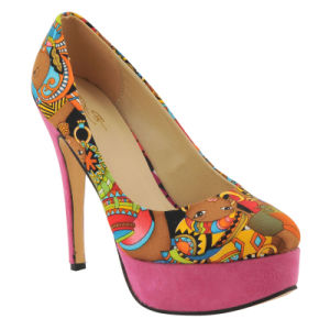 New West African Printed Fabrics Fashion High Heel Shoes (HCY02-1354) pictures & photos