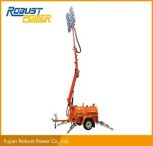 Four Folded Hydraulic Heavy Duty Trailer DC LED Mobile Lighting Tower pictures & photos