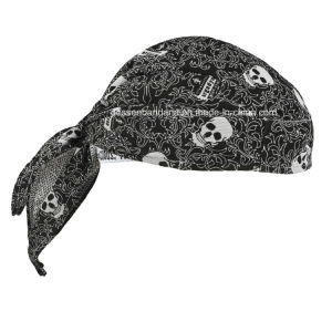 Custom Made Logo Printed Cotton Promotional American Flag Skull Cap Biker Caps Headwrap pictures & photos
