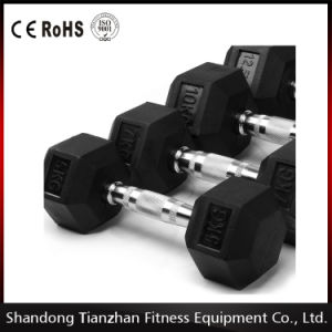 Black Dumbell / Rubber Hex Dumbbell Tz-8001 pictures & photos