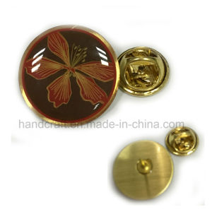 Round Lapel Pin with Offset Printing and Transparent Epoxy Dome