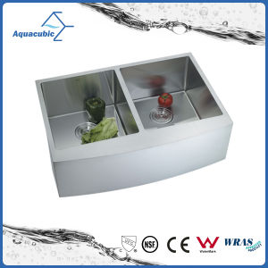 Hot Sale Stainless Steel Handmade Undermount Double-Bowl Kitchen Sink (ACS3021A2) pictures & photos