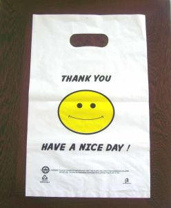 HDPE White Plastic Die Cut Bag with Printing pictures & photos