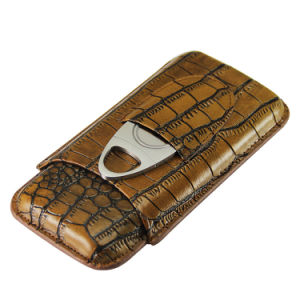 Brown Crocodile Pattern Leather Cigar Holder Case Cutter Set (ES-EB-111) pictures & photos
