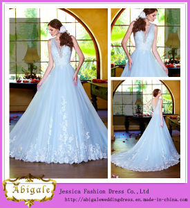 Latest Style 2014 New Model Floor Length Deep V-Neck Light Blue Wedding Dress Princess Style (WD11) pictures & photos