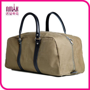 Mens Vintage Retro Canvas Sports Leather Trim Duffel Bag Travel Luggage Brown Carry on Bag