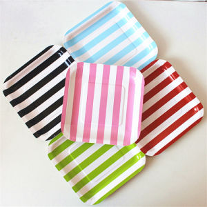 "Disposable Striped 9"" Square Paper Plates for Party pictures & photos"