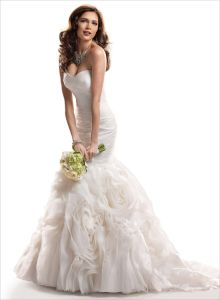 2014 Elegent Ivory Sweetheart Mermaid Organza Bridal Wedding Dress (SCL-WD034)