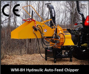 Wood Chipper Th-8, Tractor Pto Shaft Driven, CE Certificate, Two Hydraulic Feeding Rollers pictures & photos