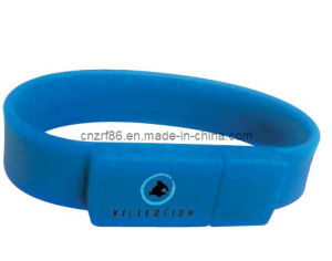 Fashion Silk Screen Printed Silicone USB Wristband pictures & photos