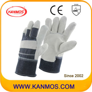 Grey Full Palm Cowhide Split Leather Industrial Safety Work Gloves (11005)