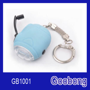 Mini 2LED Crank Dynamo Keychain Flashlight