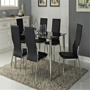 Glass Dining Table Set with 6 Leather Chairs pictures & photos