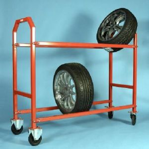 Tire Warehouse Trolley Wheels Tyre Display Roll Pallet Truck Hand Cart pictures & photos