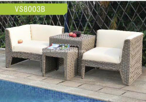 High Quality PU Leather and Wicker Garden Set pictures & photos