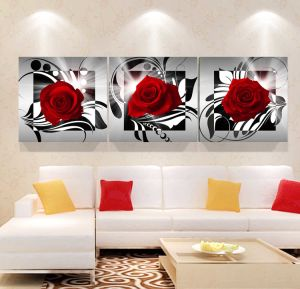 3 Panel Wall Art Oil Painting Rose Painting Home Decoration Canvas Prints Pictures for Living Room Mc-255 pictures & photos