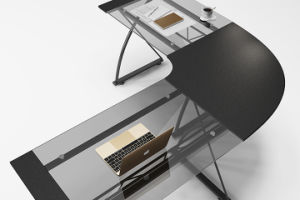 Soho Z-Line 3-Piece Corner Desk with Black Glass for Small Office pictures & photos