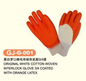 Cotton Woven Interlock Gloves with Latex (GJ-J-001)