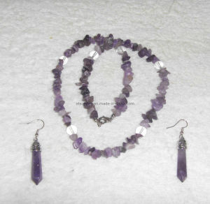 Semi Precious Stone Natural Crystal Amethyst Charming Necklace Jewelry Sets pictures & photos