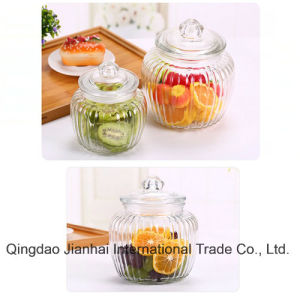 Sugar Glass Storage Bottle with Glass Lids pictures & photos