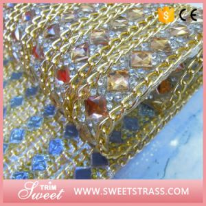 Gold Metal Chain Strass Stud Ornament Hot Fix Mesh pictures & photos