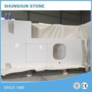 Pure White Quartz Laminated Stone Countertop for Kitchen Design pictures & photos