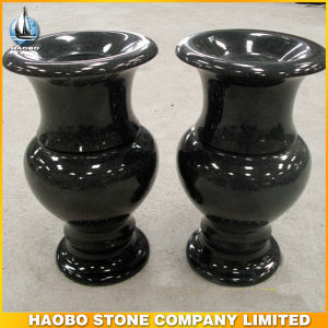 Round Black Granite Cemetery Vases for Tombstone pictures & photos