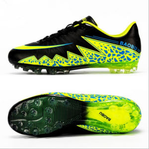 Sports Soccer Shoes Training Long Spike for Children Footwear (AK8008-1C) pictures & photos