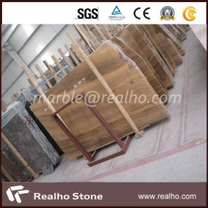 Latest Yellow Stone Wooden Vein Marble Slab for Flooring pictures & photos