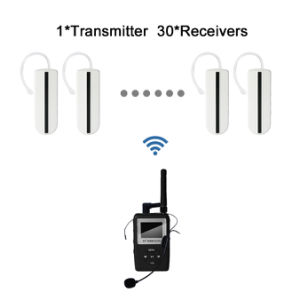 UHF Portable Earhook Receiver Wireless Tour Guide System 1 Transmitter and 30 Receivers pictures & photos