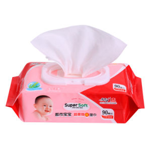 90PCS Soft Cotton Non-Woven Spunlace Wet Wipes Baby Cleaning Wipes pictures & photos