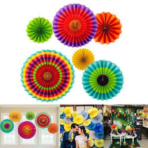 "4""/6""/8""/10""/12""/16"" Paper Wheel Fan POM Flowers Pinewheel Backdrop Wedding Party Decor Hanging Tissue Paper Fan pictures & photos"