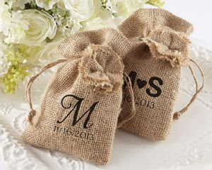 Natural Style Colored Burlap Jute Pouch pictures & photos