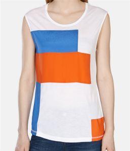 Loose Fit Jersey Vest with Contrast Colour Block Woven Applique pictures & photos