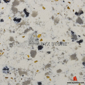 White Crystal Quartz with Golden Glass for Kitchen Countertop pictures & photos