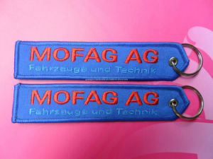 Custom Woven Embroidery Fabric Keychain pictures & photos