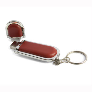 Hot Sale Portable Leather (PU) Style USB Stick with Keyring pictures & photos