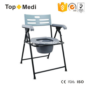 Topmedi Steel Folding Commode Chair with Armrest and Backrest pictures & photos