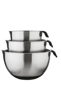 18/10 Stainless Steel Mixing Bowl Set with Nonslip Bottom and Handle 3 PC Set (Black) pictures & photos