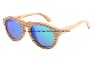 Zebra Wood Sunglasses with Mirror Green Tac Polarized Lens (GA216-3)